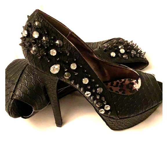 1ed682633d DOLLHOUSE studded spike rhinestone pumps black NEW